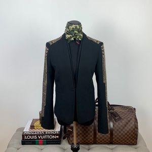 Cache Studded Black & Gold Blazer Jacket Size 4